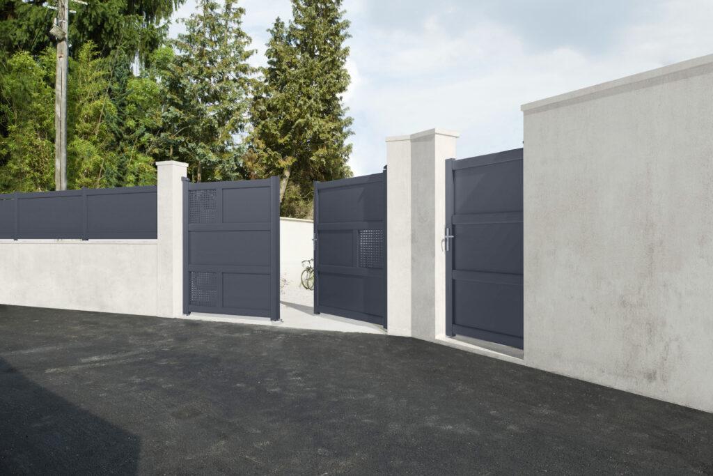 201411173 lapeyre portail battant en aluminium lugano vue. Black Bedroom Furniture Sets. Home Design Ideas